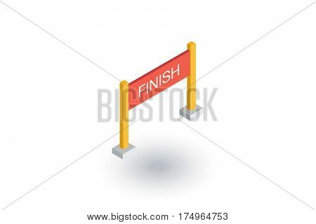 Finish banner isometric flat icon. 3d vector colorful illustration. Pictogram isolated on white background