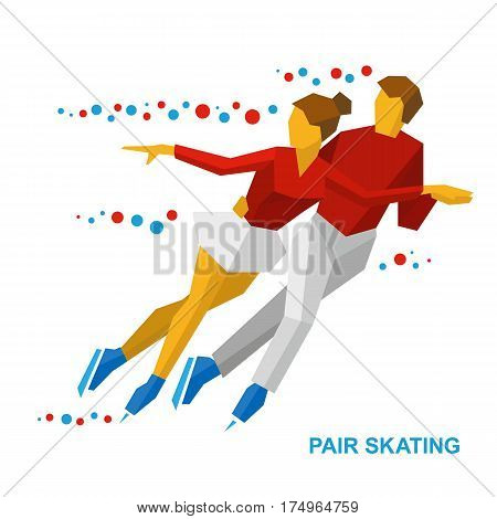 Winter Sports - Pair Figure Skating. Man And Woman On Ice