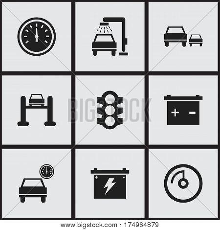 Set Of 9 Editable Transport Icons. Includes Symbols Such As Automobile, Speed Control, Stoplight And More. Can Be Used For Web, Mobile, UI And Infographic Design.