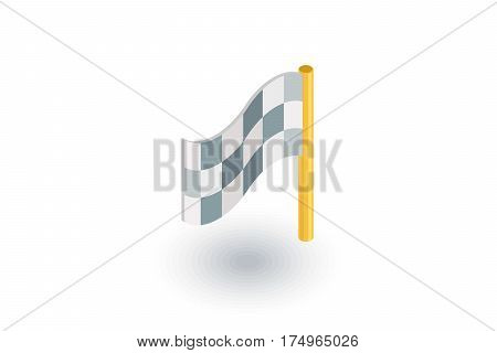 finish flag isometric flat icon. 3d vector colorful illustration. Pictogram isolated on white background