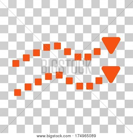 Dotted Trend Lines icon. Vector illustration style is flat iconic symbol, orange color, transparent background. Designed for web and software interfaces.