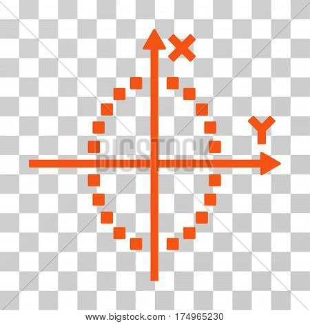 Ellipse Plot icon. Vector illustration style is flat iconic symbol, orange color, transparent background. Designed for web and software interfaces.