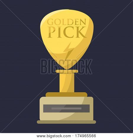 Gold rock star trophy music best entertainment win achievement clef and sound shiny golden melody success prize pedestal victory vector illustration. Champion competition honor sign.