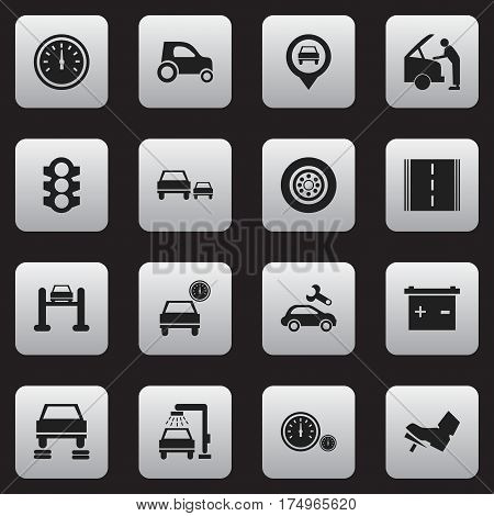 Set Of 16 Editable Vehicle Icons. Includes Symbols Such As Treadle, Tire, Vehicle Car And More. Can Be Used For Web, Mobile, UI And Infographic Design.
