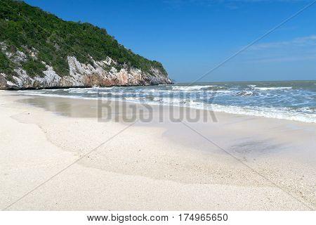 White sand beach khao-sam-roi-yot national Park Thailand