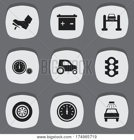 Set Of 9 Editable Traffic Icons. Includes Symbols Such As Accumulator, Speedometer, Treadle And More. Can Be Used For Web, Mobile, UI And Infographic Design.