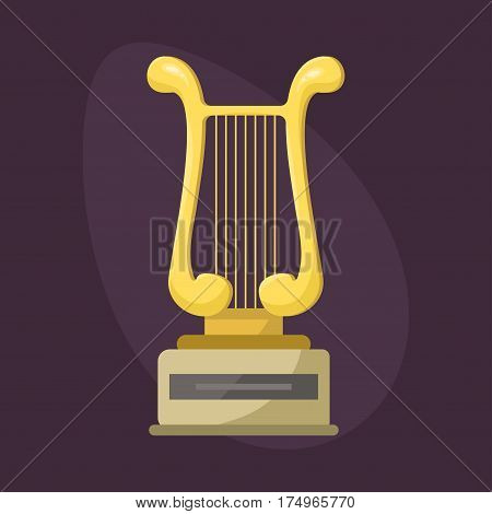 Gold rock star trophy music harp best entertainment win achievement clef and sound shiny golden melody success prize pedestal victory vector illustration. Champion competition honor sign.