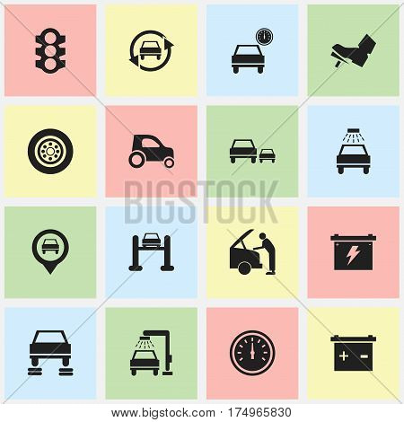 Set Of 16 Editable Traffic Icons. Includes Symbols Such As Tire, Stoplight, Vehicle Wash And More. Can Be Used For Web, Mobile, UI And Infographic Design.