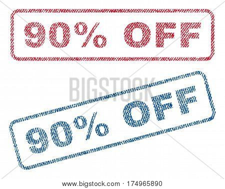 90 Percent Off text textile seal stamp watermarks. Blue red fabric vectorized texture. Vector caption inside rounded rectangular shape. Rubber sticker with fiber textile structure.
