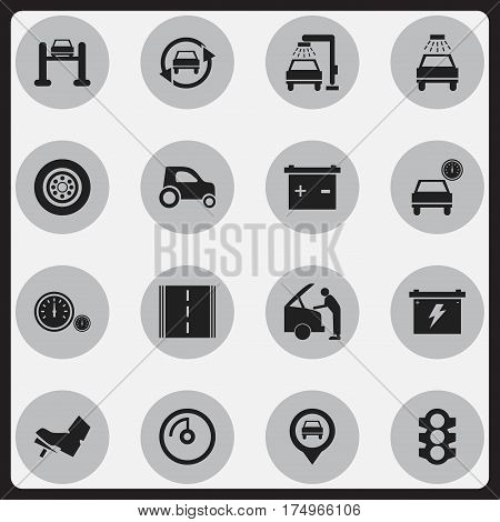 Set Of 16 Editable Vehicle Icons. Includes Symbols Such As Tire, Tuning Auto, Treadle And More. Can Be Used For Web, Mobile, UI And Infographic Design.