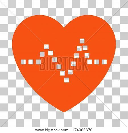 Heart Pulse icon. Vector illustration style is flat iconic symbol, orange color, transparent background. Designed for web and software interfaces.