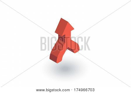 arrow, up direction, connecting isometric flat icon. 3d vector colorful illustration. Pictogram isolated on white background