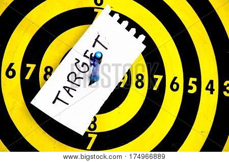 aim of target dart board to goal, business concept to goal copy space  background