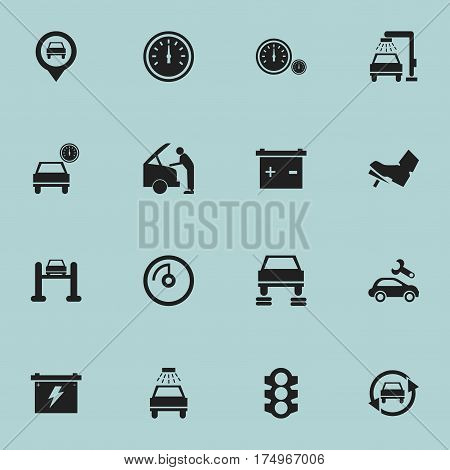 Set Of 16 Editable Vehicle Icons. Includes Symbols Such As Auto Service, Pointer, Accumulator And More. Can Be Used For Web, Mobile, UI And Infographic Design.