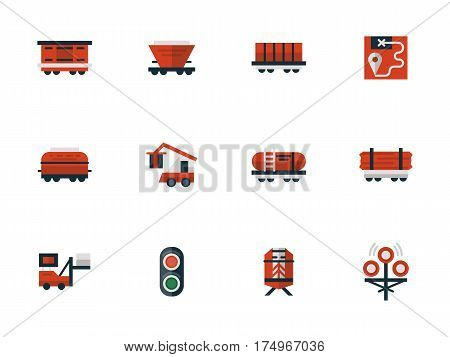 Objects of railway, railroad equipment. Different types of rail cars and wagons for freights. Transportation industry. Collection of stylish flat design red vector icons.