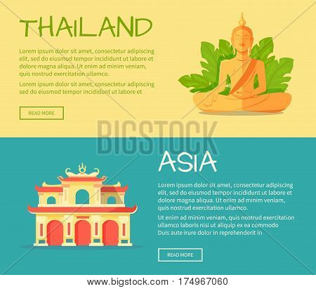 Set of Asia and Thailand web banners. Monument of Buddha and building of ancient thai temple flat vector illustrations. Horizontal concepts with Asia related symbols for travel company landing page