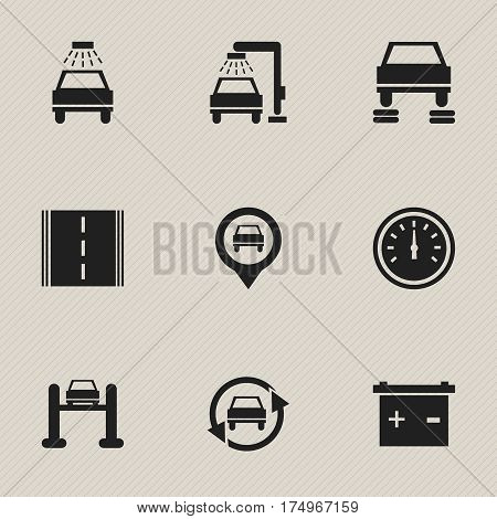 Set Of 9 Editable Car Icons. Includes Symbols Such As Accumulator, Speed Control, Tuning Auto And More. Can Be Used For Web, Mobile, UI And Infographic Design.