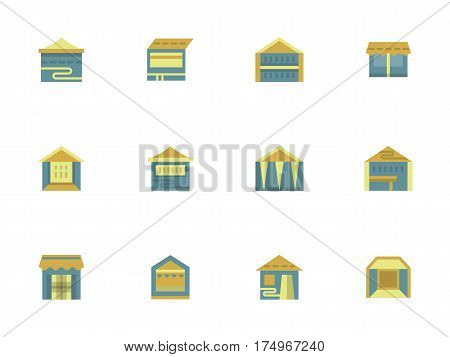 Different tents, pavilions, marquees for trade and commercial events. Marketplace structures. Collection of stylish flat design blue and yellow vector icons.