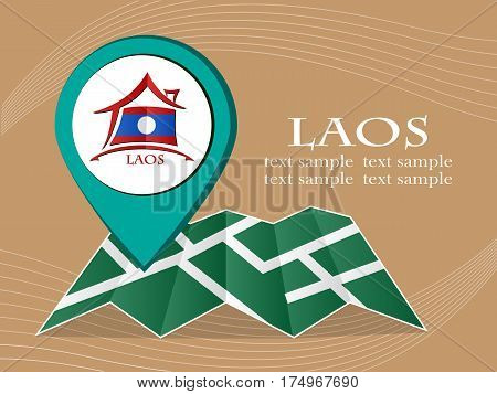 map with pointer flag Laos vector illustration eps 10.