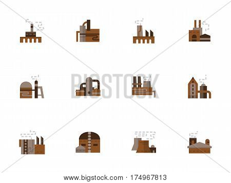 Industrial buildings - plant, factory, power station and storages. Architecture of chemical industry, refinery, manufacturing and processing. Collection of simple design flat brown vector icons.