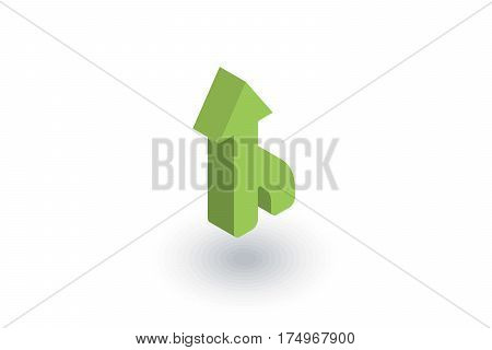 arrow up, direction, connecting isometric flat icon. 3d vector colorful illustration. Pictogram isolated on white background
