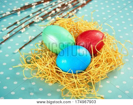 Easter Pussy-willow And Easter Egg On Authentic Background. Happy Easter Card