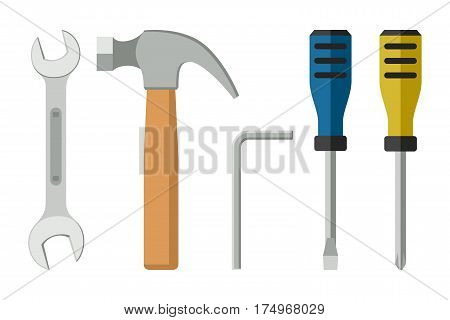 Tools in flat style. Icons of screwdrivers spanner, hammer.