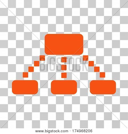 Hierarchy Scheme icon. Vector illustration style is flat iconic symbol, orange color, transparent background. Designed for web and software interfaces.