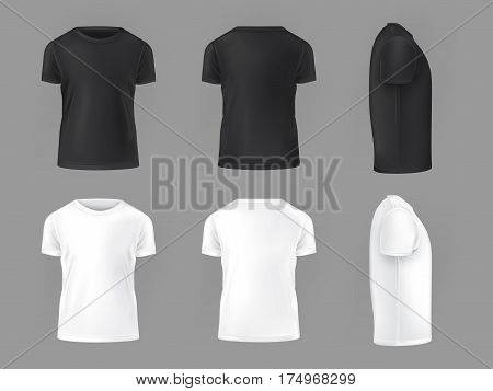 set template of male T-shirts front, side, rear
