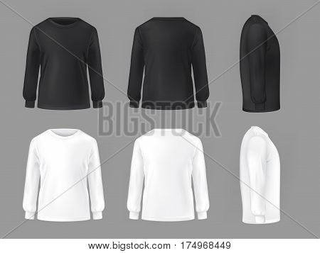 set template of male T-shirts with long sleeve front, side, rear