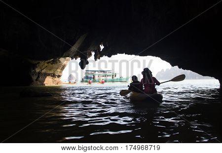 Silhouette Kayaking In Ocean