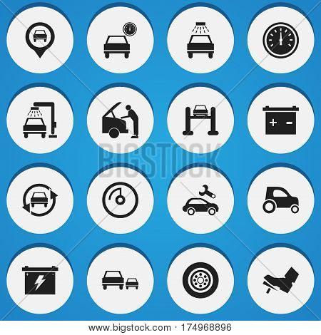 Set Of 16 Editable Traffic Icons. Includes Symbols Such As Speed Display, Treadle, Tire And More. Can Be Used For Web, Mobile, UI And Infographic Design.