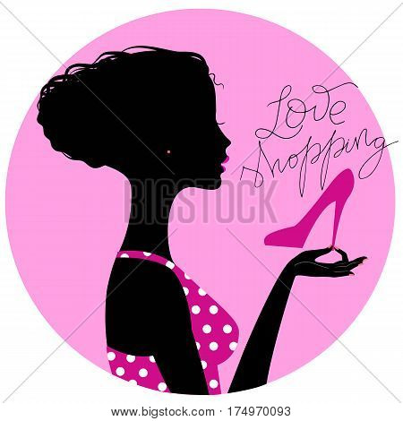 Silhouette of young beautiful woman bying new shoes, illustration for sale banner, flyer or signboard