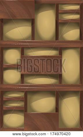wooden shelves background, vintage rack for domestic trivia.