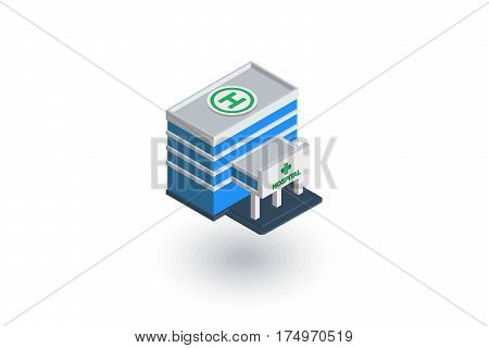 hospital building isometric flat icon. 3d vector colorful illustration. Pictogram isolated on white background