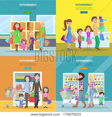 Happy families have shopping in big supermarket web banner. Different departments of store entrance, grocery and dairy product near cash register vector illustration. People buying necessary goods.
