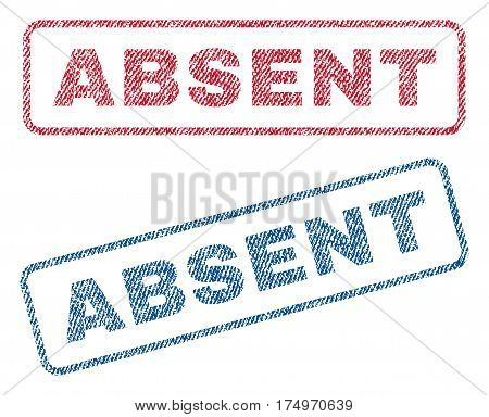 Absent text textile seal stamp watermarks. Blue red fabric vectorized texture. Vector caption inside rounded rectangular banner. Rubber emblem with fiber textile structure.