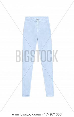 Light Blue Skinny Jeans Pants, Isolated On White Background