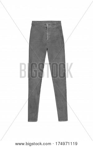 Grey Skinny High Waist Jeans Pants, Isolated On White Background
