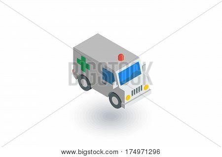 ambulance, medical car isometric flat icon. 3d vector colorful illustration. Pictogram isolated on white background