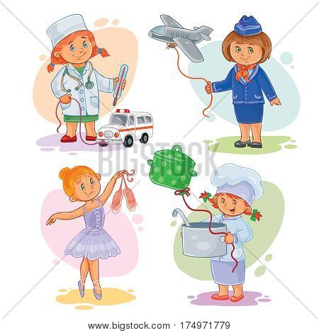 Set of icons of small children doctor, stewardess, dancer, cook