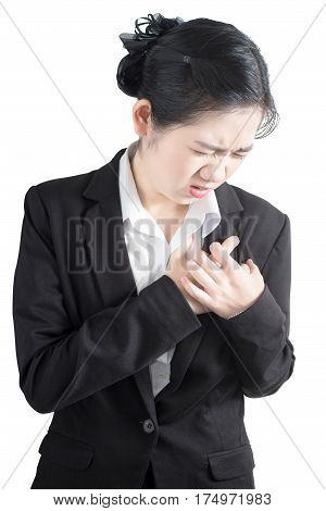Chest Pain Or Asthma In A Woman Isolated On White Background. Clipping Path On White Background.