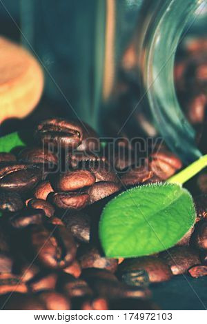 Spilt coffe bean with leaf. Coffe beans with glass. Arabica dark beans of coffe.