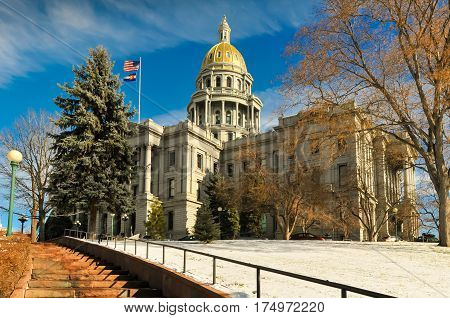 The stairs to the Denver, Colorado capitol building