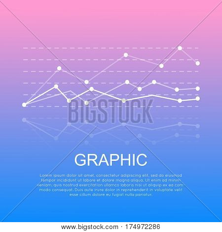 Graphic with curve lines isolated with information on smooth light blue-pink background. Vector illustration of line diagram indicating changes in business deal. Three non straight lines with points