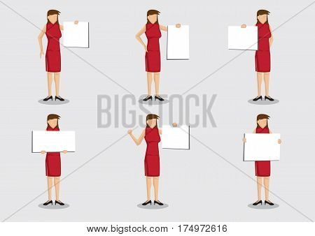 Set of six vector illustrations of Chinese lady in cheongsam a traditional dress costume holding placard with copy space isolated on grey background.