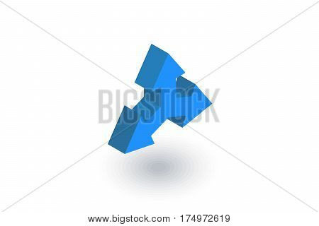 Three-way direction arrow isometric flat icon. 3d vector colorful illustration. Pictogram isolated on white background
