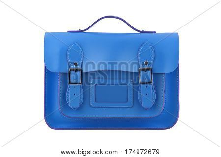 Blue Satchel isolated on a white background
