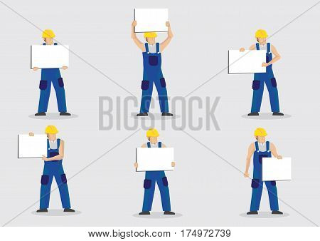 Set of six vector illustrations of construction worker in blue overall and yellow hard hat holding blank placard with copy space isolated on grey background.