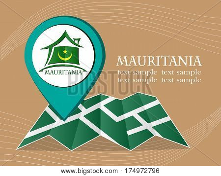 map with pointer flag Mauritania vector illustration eps 10.